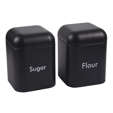 2-Piece Stainless Steel Sugar and Flour Storage Container Jar with Lids, Black