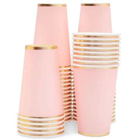 50-Pack Pink Disposable Paper Cups, Light Pink w/ Gold Foil Party Supplies, 12oz