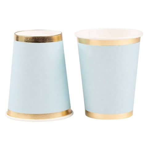 50-Pack 9oz Disposable Blue Paper Cups, Light Blue with Gold Foil, Baby Shower
