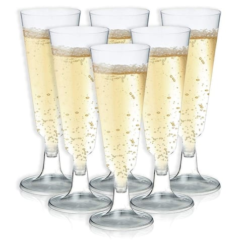 50-Count Plastic Champagne Glasses for Parties, Events, Celebrations, 5 Fl.Oz