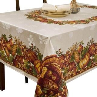 "Harvest Splendor Engineered Printed Fabric Tablecloth 60"" X 120"""