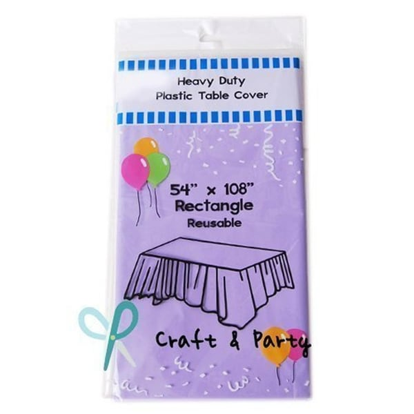 """6-Pack Heavy Duty Plastic Tablecloth 54"""" x 108"""" Lavender"""