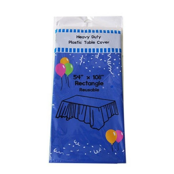 "6-Pack Heavy Duty Plastic Tablecloth 54"" x 108"" Royal Blue"