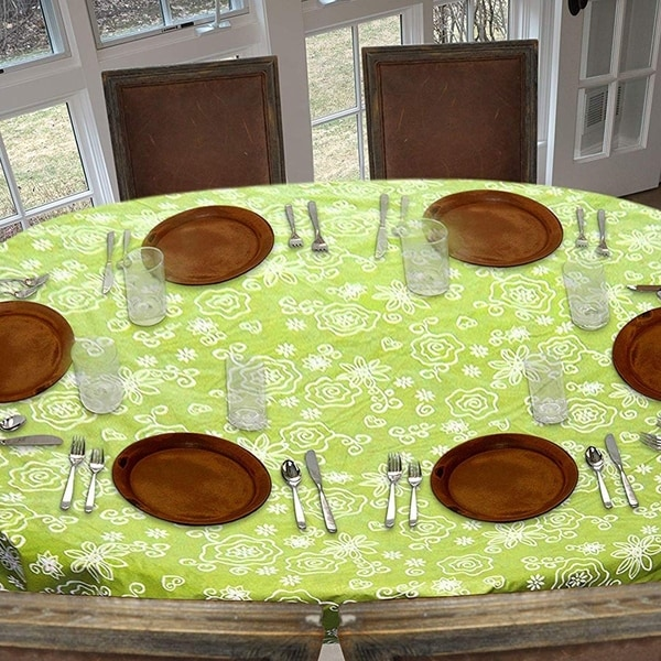 """Stitched Edged Flannel Backed Vinyl Drop Tablecloth 54"""" x 72"""" Tonal Line Work - Green"""