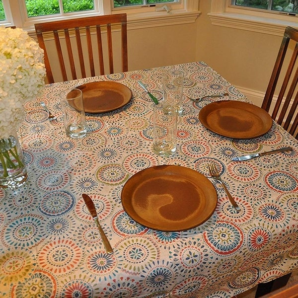 """Stitched Edged Flannel Backed Vinyl Drop Round Tablecloth 70"""" Multi-color Geometric Medallion"""
