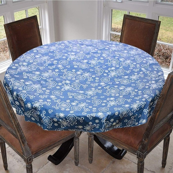 """Stitched Edged Flannel Backed Vinyl Drop Round Tablecloth 70"""" Tonal Line Work - Blue"""