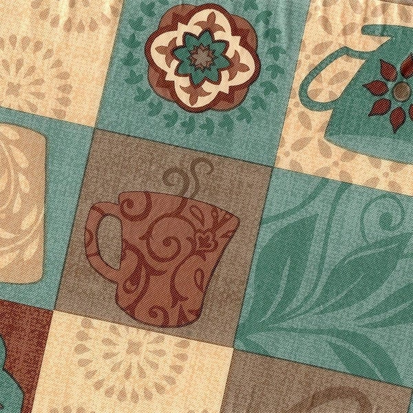 "Stitched Edged Flannel Backed Vinyl Drop Tablecloth 54"" x 72"" Global Coffee"