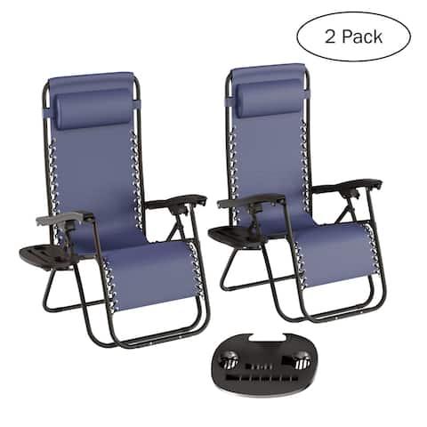 Lavish Home Zero Gravity Lounge Chairs (Set of 2) - 63.5 x 25 x 43