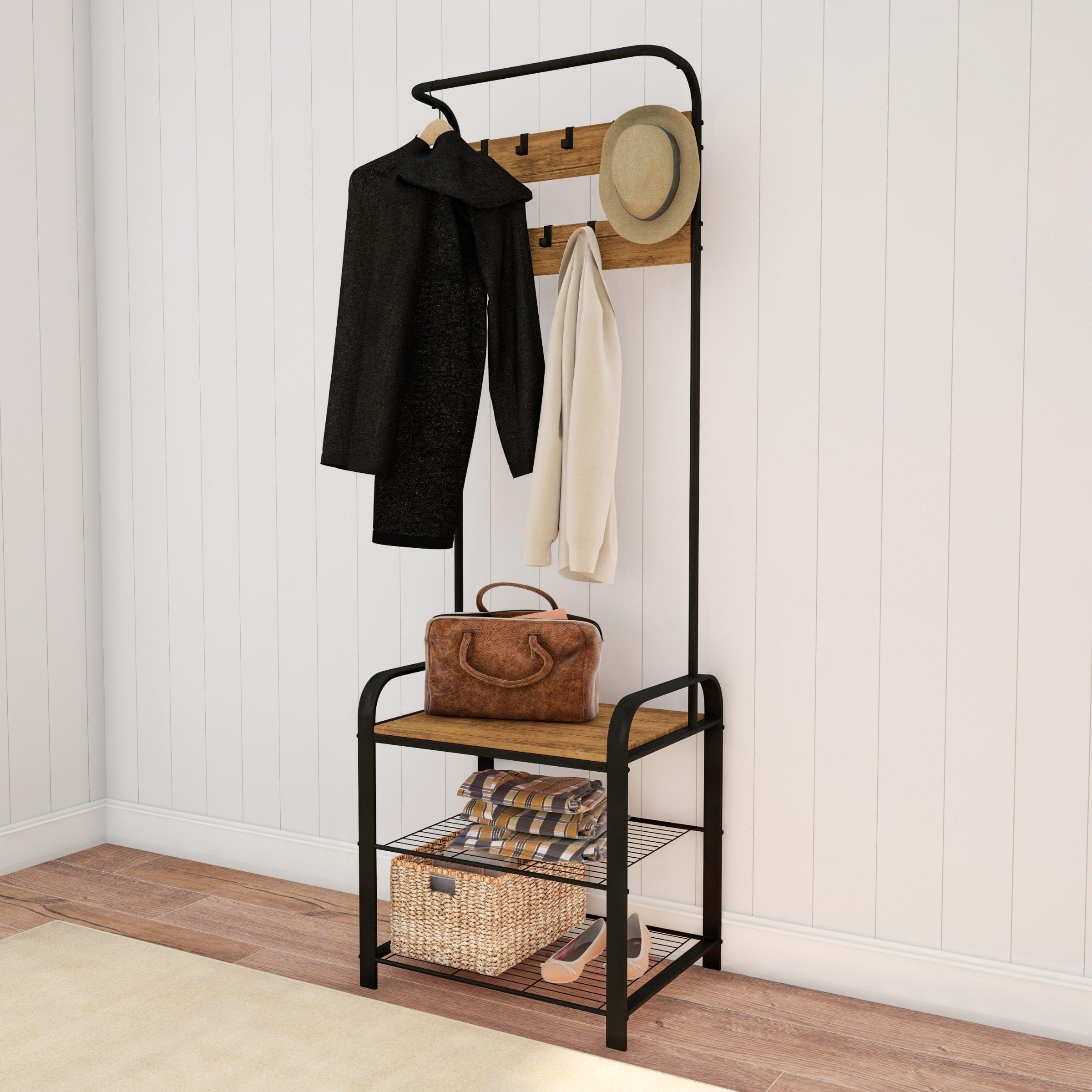 Entryway Coat Rack With Storage Bench