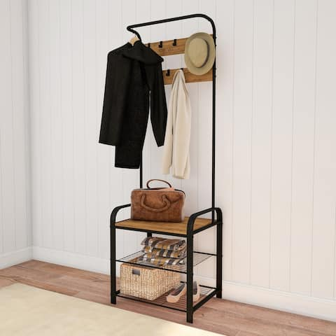 Carbon Loft Bright Entryway Coat Rack with Storage Bench