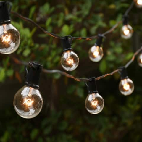 ALEKO Outdoor/Indoor Traditional Weatherproof Patio String Cafe Round Bulb Lights 20 Feet - Warm White