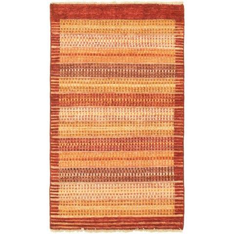 Hand-knotted Peshawar Ziegler Burgundy Wool Rug
