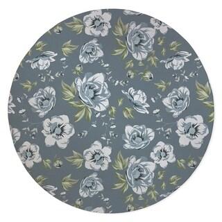 COLETTE WHITE FLOWER ON BLUE Area Rug By Kavka Designs