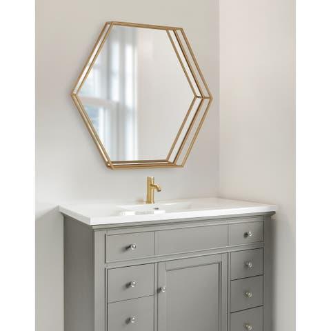 Kate and Laurel Felicia Hexagon Mirror - 30x2.5x26