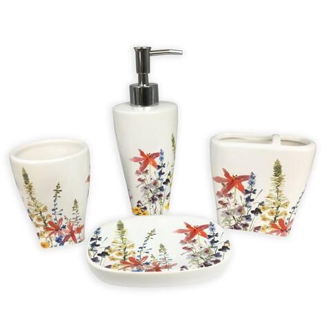 Julie grey 4 pcs bath accessories set - multi size
