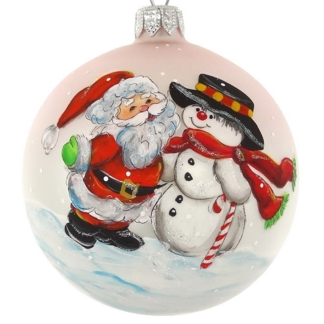 Hand Painted Santa And Snowman European Mouth Blown 4 Round Holiday Ornament Overstock 29879298