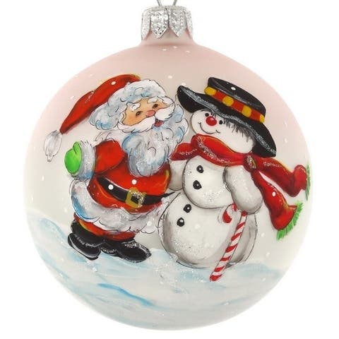 """Hand Painted Santa and Snowman European Mouth Blown 4"""" Round Holiday Ornament"""