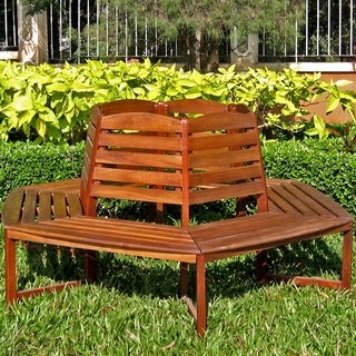 International Caravan Acacia Sectional 6-sided Tree Trunk Bench