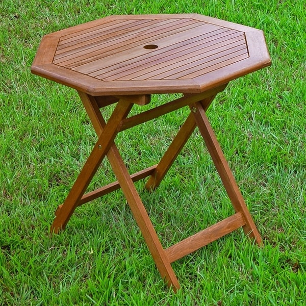 International Caravan Acacia 30 Inch Octagonal Folding Table