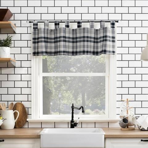 No. 918 Blair Farmhouse Plaid Semi-Sheer Tab Top Kitchen Curtain Valance - 52 x 14 - 52 x 14