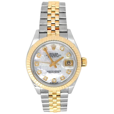 Pre-owned 28mm Rolex 18k Yellow Gold and Stainless Steel Datejust Watch