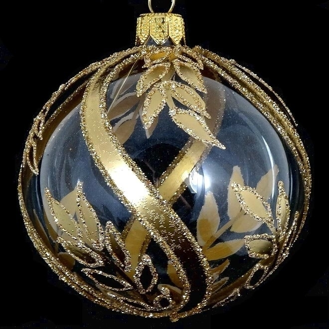 Pair Of Gold On Clear Leaf European Mouth Blown Hand Decorated 4 Round Holiday Ornaments Overstock 29880200