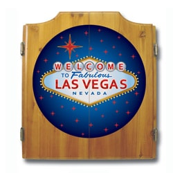 Las Vegas Bristle Dartboard Wood Cabinet Set with Two Sets of Darts - Thumbnail 1
