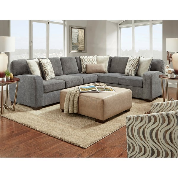 Bocchi Sectional & Ottoman - Steel Gray