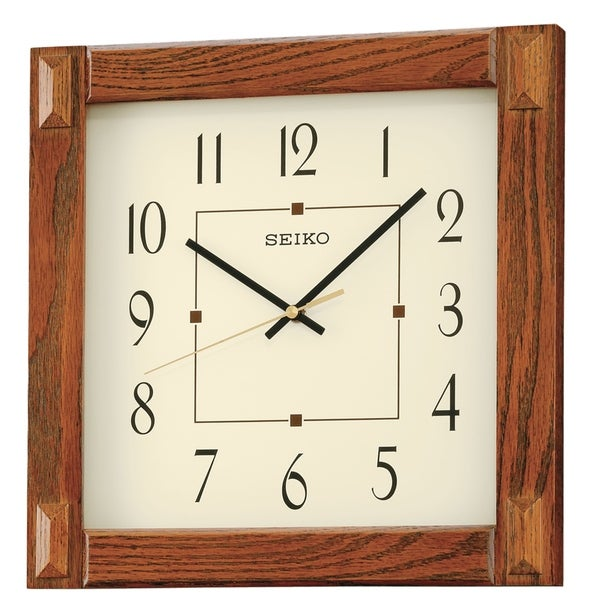 "Seiko 13"" Square Medium Brown Wood Wall Clock"