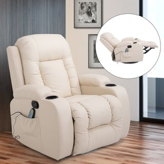 HomCom Overstuffed Luxury Faux Leather Heated Massaging Recliner Chair With Remote And Drink Holders - Cream White