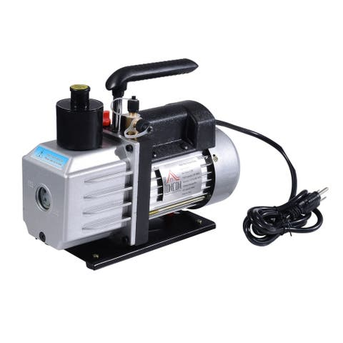 HomCom Single Stage 7 CFM Rotary Vane Vacuum Pump - Black/Silver