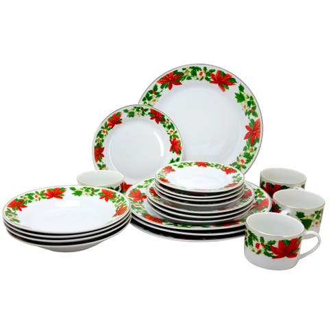 Gibson Home 20 Piece Poinsettia Holiday Dinnerware Set