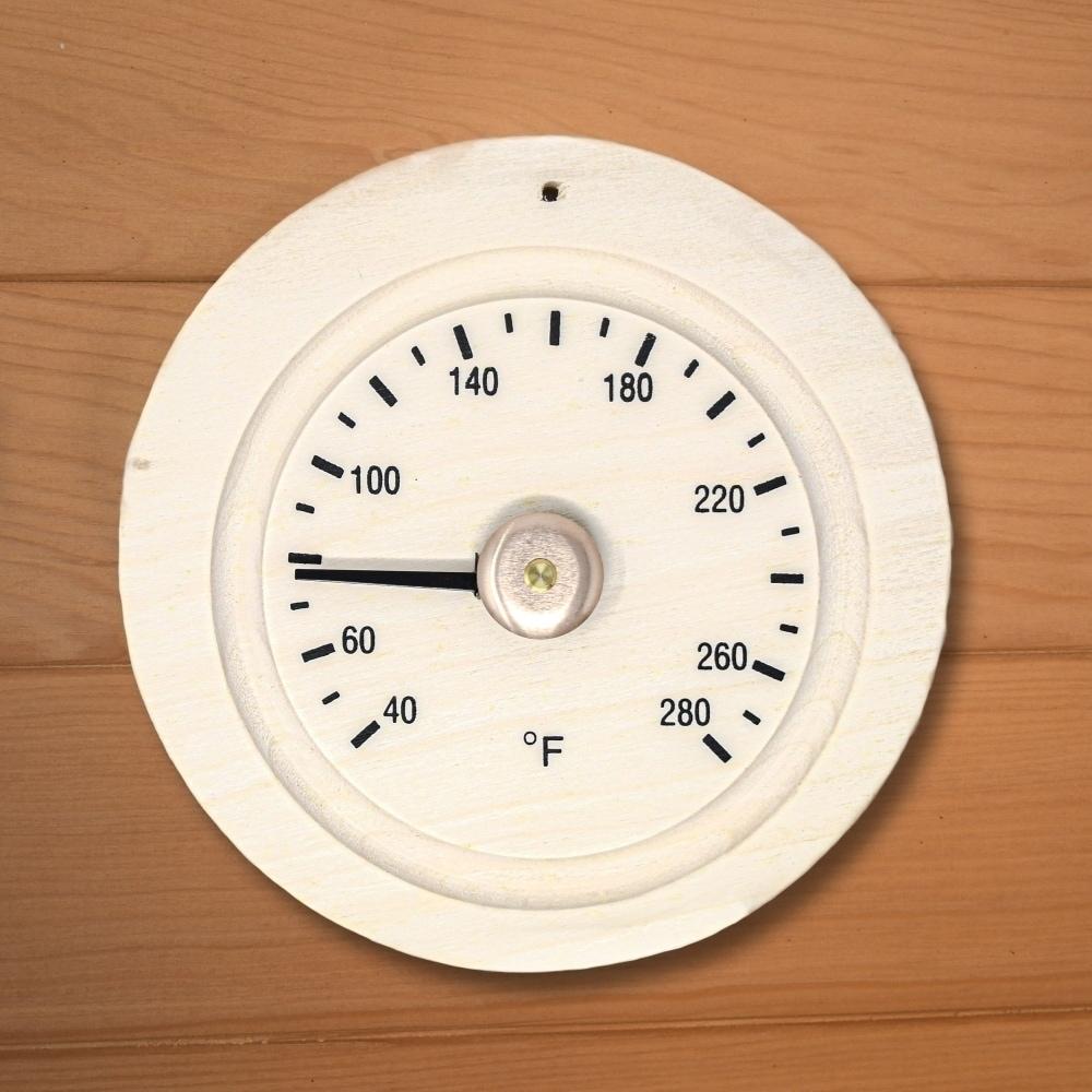 Aleko Sauna Accessory Round Pine Wood Sauna Thermometer Gage In Fahrenheit On Sale Overstock 29880293