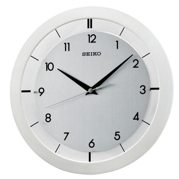 """Seiko 11"""" White Metal Wall Clock"""