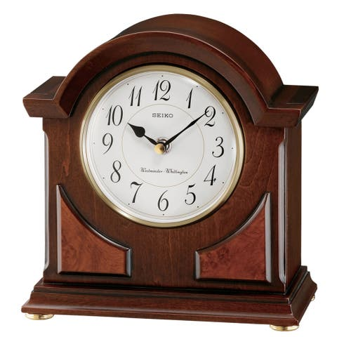 """Seiko 9"""" Brown Wooden Case with Chime Clock"""