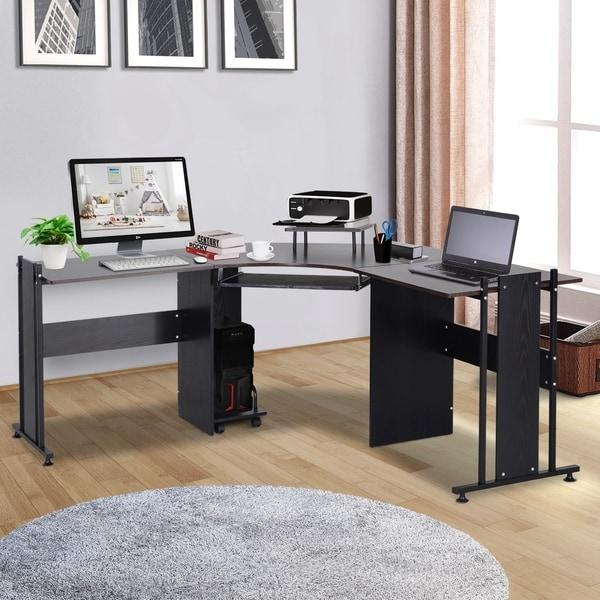 HomCom L Shaped Corner Computer Desk, Gaming Home Office Modern, 3-Piece, Brown