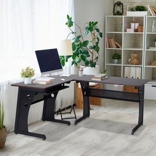 """HomCom L-Shaped Corner Computer Office Desk, Modern Workstation, Wood Steel, Brown and Black, 65"""" L"""