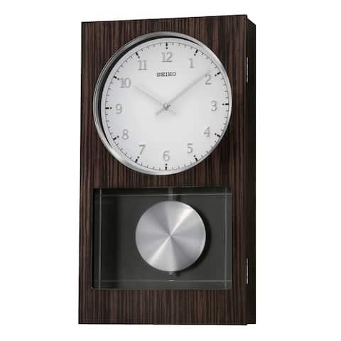 Seiko Modern Dark Wooden Wall Clock with Pendulum and Dual Chimes