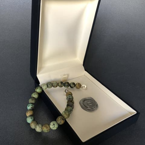 Sterling Silver Spiritual Gemstone Beaded Bracelet - African Turquoise