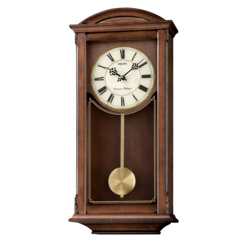Seiko Arched Wall Clockwith Pendulum and Dual Chimes