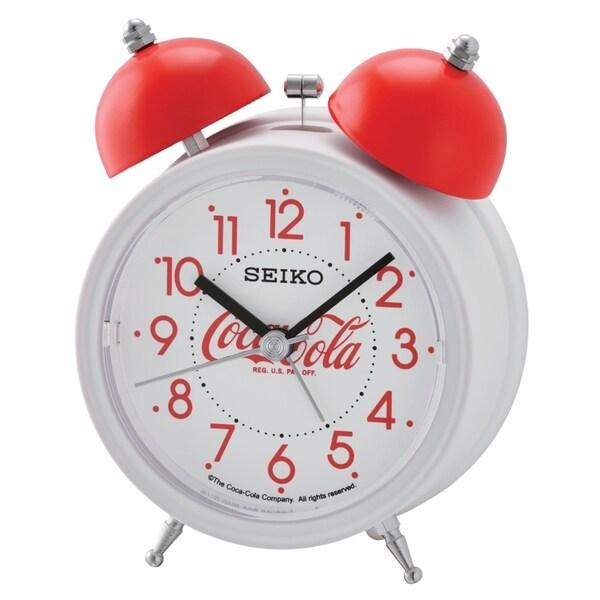 "Seiko 5"" Coca Cola Alarm Clock, White, Quit Sweep, Alarm, Snooze, Light,"
