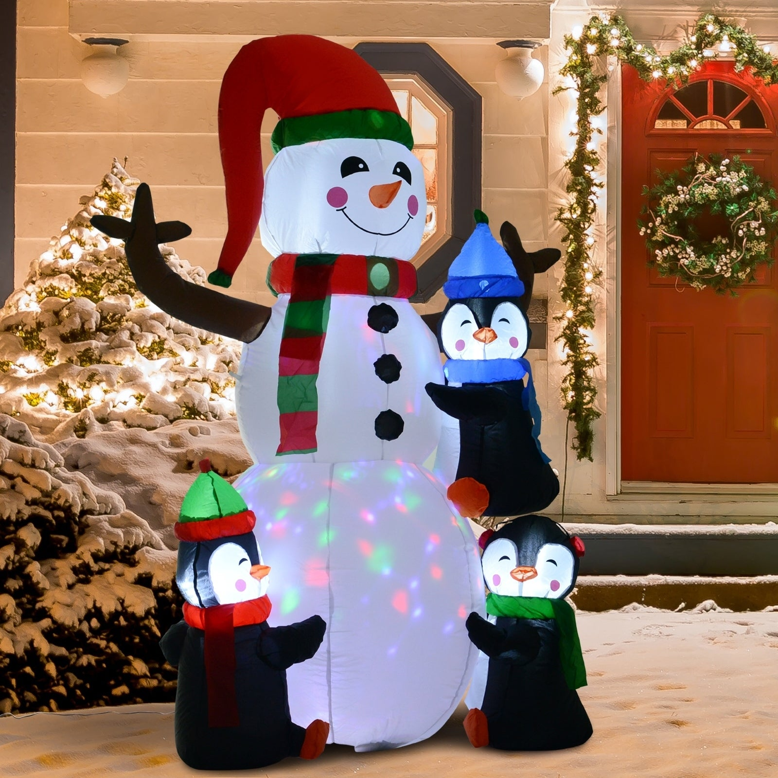 Hom 6 Christmas Holiday Yard Inflatable Outdoor Light Up LED Airblown Xmas Decoration 3 Penguins Building Snowman