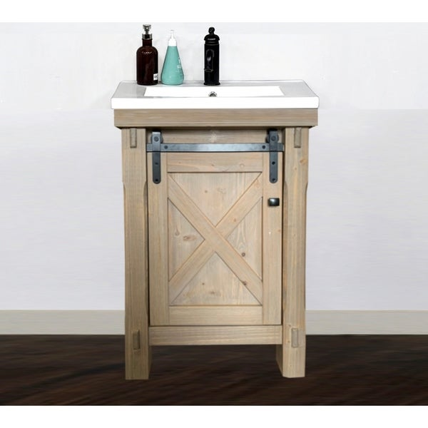 """24"""" Rustic Solid Fir Barn Door Style Vanity with Ceramic Single Sink-No Faucet. Opens flyout."""