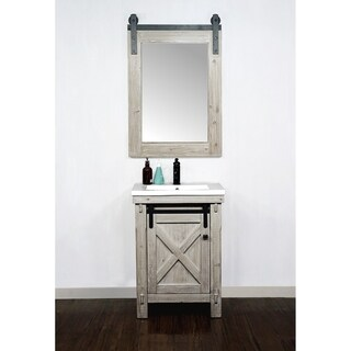 "24"" Rustic Solid Fir Barn Door Style Vanity with Ceramic Single Sink-No Faucet"