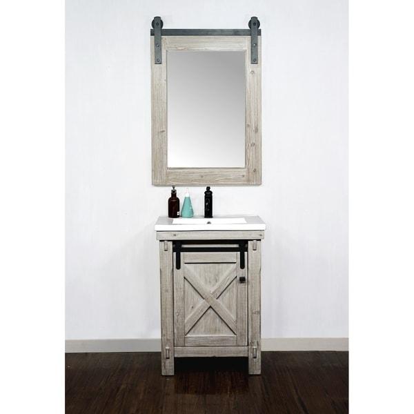 """Shop 24"""" Rustic Solid Fir Barn Door Style Vanity with ..."""