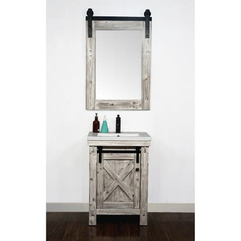 """24"""" Rustic Solid Fir Barn Door Style White Wash Vanity with Ceramic Single Sink-No Faucet"""