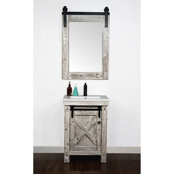 """24"""" Rustic Solid Fir Barn Door Style White Wash Vanity with Ceramic Single Sink-No Faucet. Opens flyout."""