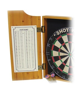 Four Aces Wood Dart Cabinet Set w/ Darts and Board - Thumbnail 1