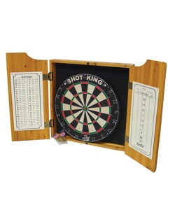Four Aces Wood Dart Cabinet Set w/ Darts and Board - Thumbnail 2