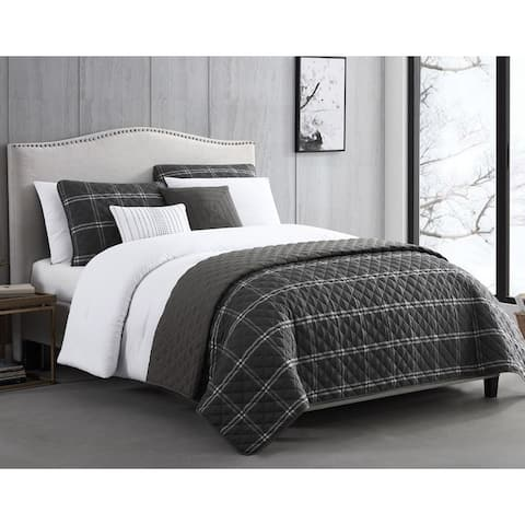Durham Black Layered Comforter & Coverlet Set